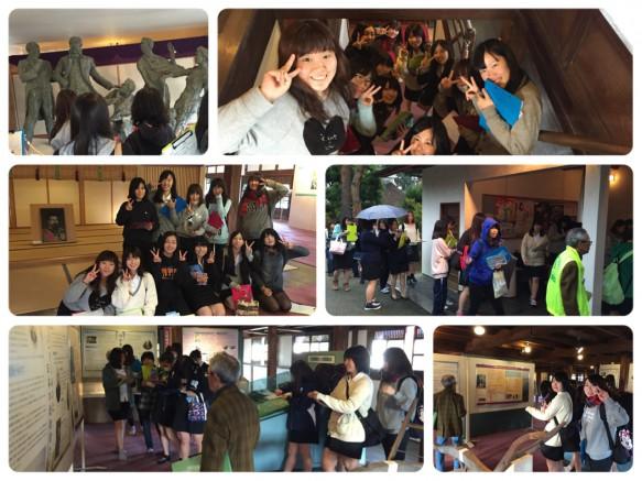 明治天皇が宿泊した部屋の前で記念写真!(中段左)