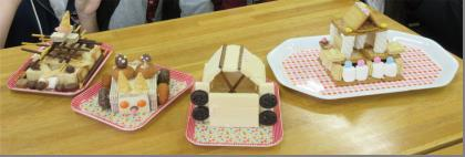 「お菓子の家」や「猫バス」いろんなものがお菓子でできました。