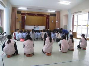 実習風景:幼稚園の行事『歯磨き講習』にも参加しました。