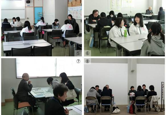 ⑤⑥ 学生懇談では、授業、サークル、アルバイトなど様々なキャンパスライフに関する内容に話の花を咲かせていました。 ⑦⑧ 教員懇談は2つの会場でおこなわれました。編入学について、入試の種類や試験の内容について、奨学金などに関する質問や相談がされました。