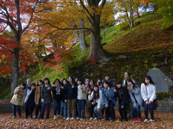 亀ヶ城跡のすばらしい紅葉