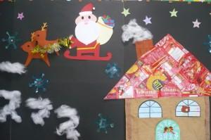 サンタさんもご機嫌です。きっと可愛い子どもたちの寝顔がそうさせてのでしょう。